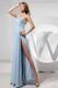 One Shoulder Empire and High Slit Prom Dress in Light Blue