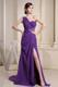 One Shoulder Brush Train Prom Dresses with Beadings and Waist