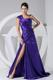 Purple One Shoulder High Slit Brush Train Taffeta Prom Dress