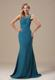 Beading Scoop Ruching Trumpet Prom Gown in Teal with Sweep Train