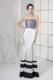 Floor-length Mermaid Prom Gown with Black and White Stripes