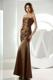 Mermaid Strapless Prom Dress in Brown Decorated with Ruching