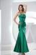 Ankle Length Ruched Strapless Trumpet Prom Dresses For Lady