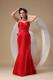 Ruching Sweetheart Dress for Prom in Red with a Big Bowknot on The Back