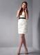 Mini-length Ruching Dress for Prom in White Decorated with Black Sash