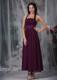 Burgundy Empire Halter Ankle-length Ruching Prom Evening Dress