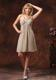 V-neck Grey Prom Dress With Mini-length Ruching Decorate