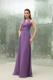 Empire Purple V-neck Bridesmaid Dress Ruched Floor-length