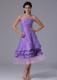 Lavender Prom Cocktail Dress with Tea-length and Ruffles Layers