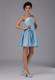 Two-toned Blue Mini-length Junior Bridesmaid Dress for Summer