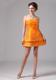 Ruched Bright Orange Mini-length Bridesmaid Dress for Juniors