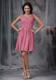 Rose Pink Empire V-neck Mini-length Ruche Prom Dress