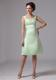 A-line Apple Green Knee-length Bridesmaid Dress with Straps