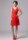 Mini-length V-neck Bright Red Dress for Bridesmaid on Wedding