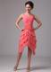 Asymmetric Tiers Hem Short Bridesmaid Dress in Watermelon Pink