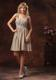 Ruche Decorate Knee-length Grey Prom Dress With Straps Neckline