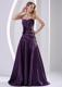 Princess Beading Ruched Floor-length Cocktail Dresses Eggplant Purple
