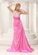 Pink Beaded Decorate Bust Ruched Bodice Brush Train 2013 Celebrity Dress