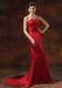 Custom Made Red Mermaid Brush Train Strapless For 2013 Celebrity Dress