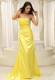 Gorgeous Yellow Strapless Ruching and Beading Prom Celebrity Dress