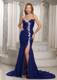 Mermaid Royal Blue Sweetheart Ruched and Appliques Prom Dress For Evening