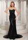 Paillette Over Skirt Sheath Sweetheart Court Train Prom Dress Black For Spring