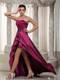 Wine Red A-line Strapless Asymmetrical Taffeta Sequins Prom Dress