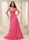 Elegant Rose Pink Sweetheart Ruched Bodice Appliques Celebrity Dress