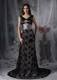 Exclusive Black Column V-neck Evening Dress Lace Beading Court Train