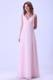 A-line Baby Pink V-neck Floor-length Bridemaid Dress Chiffon