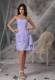 Lilac Column Sweetheart Ruched Beaded Short Chiffon Bridemaid Dress