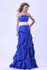 Blue Straight Neck Bridesmaid Dress With Pink Sash and Pick-ups