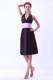 A-line Halter Brown Bridesmaid Dress With Pink Belt Knee-length Taffeta