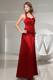 Halter Ruched Column Wine Red Satin Sleeveless Bridemaid Dress