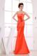 Orange Red Spaghetti Straps 2013 Bridemaid Dress with Hand Flower