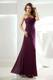 Ruched One Shoulder Eggplant Purple Column Bridemaid Dress
