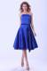 Strapless Royal Blue Tea-length Satin Bridemaid Dress With Sash