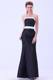 Black Satin Strapless Bridesmaid Dress With White Belt Ankle-length