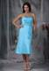 Aqua Blue Column Strapless Tea-length Taffeta Ruche Bridemaid Dress