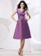 V-neck Purple Knee-length Bridesmaid Dress With Ruche and Bow