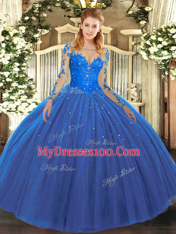 Luxurious Blue Ball Gowns Tulle Scoop Long Sleeves Lace ...
