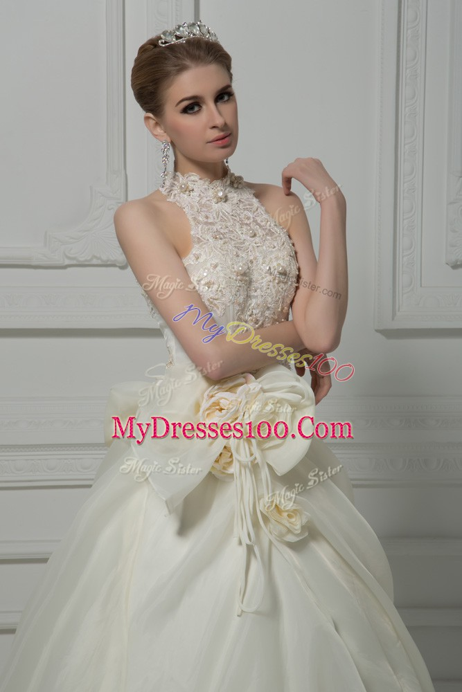 White Wedding Dresses Wedding Party with Beading and Lace and Hand Made Flower High-neck Sleeveless Court Train Zipper