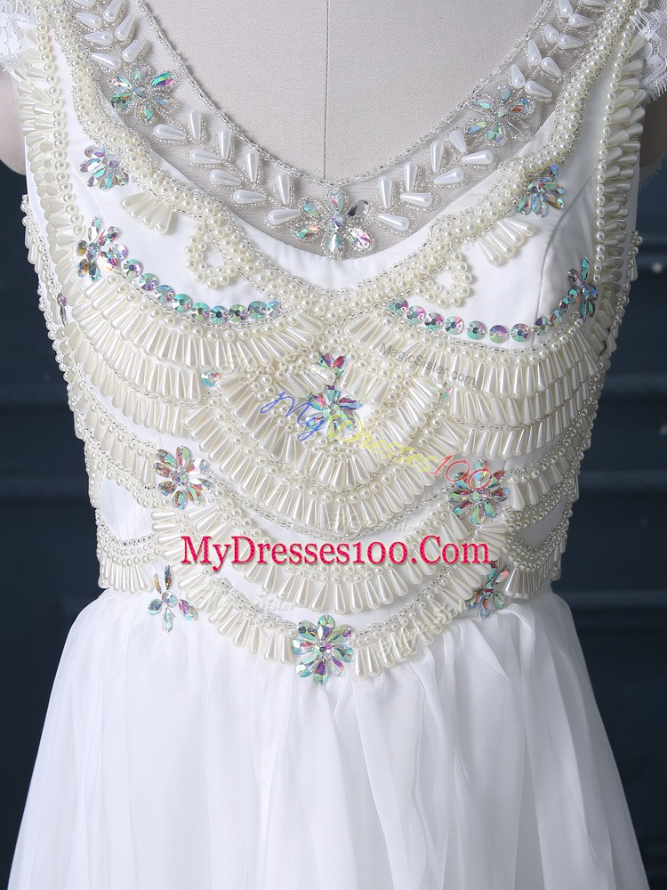 Chiffon V-neck Cap Sleeves Brush Train Zipper Beading Wedding Dresses in White