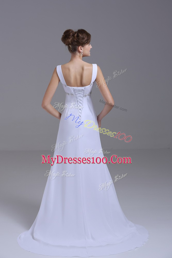 New Arrival White Empire Beading Wedding Gown Lace Up Chiffon Sleeveless