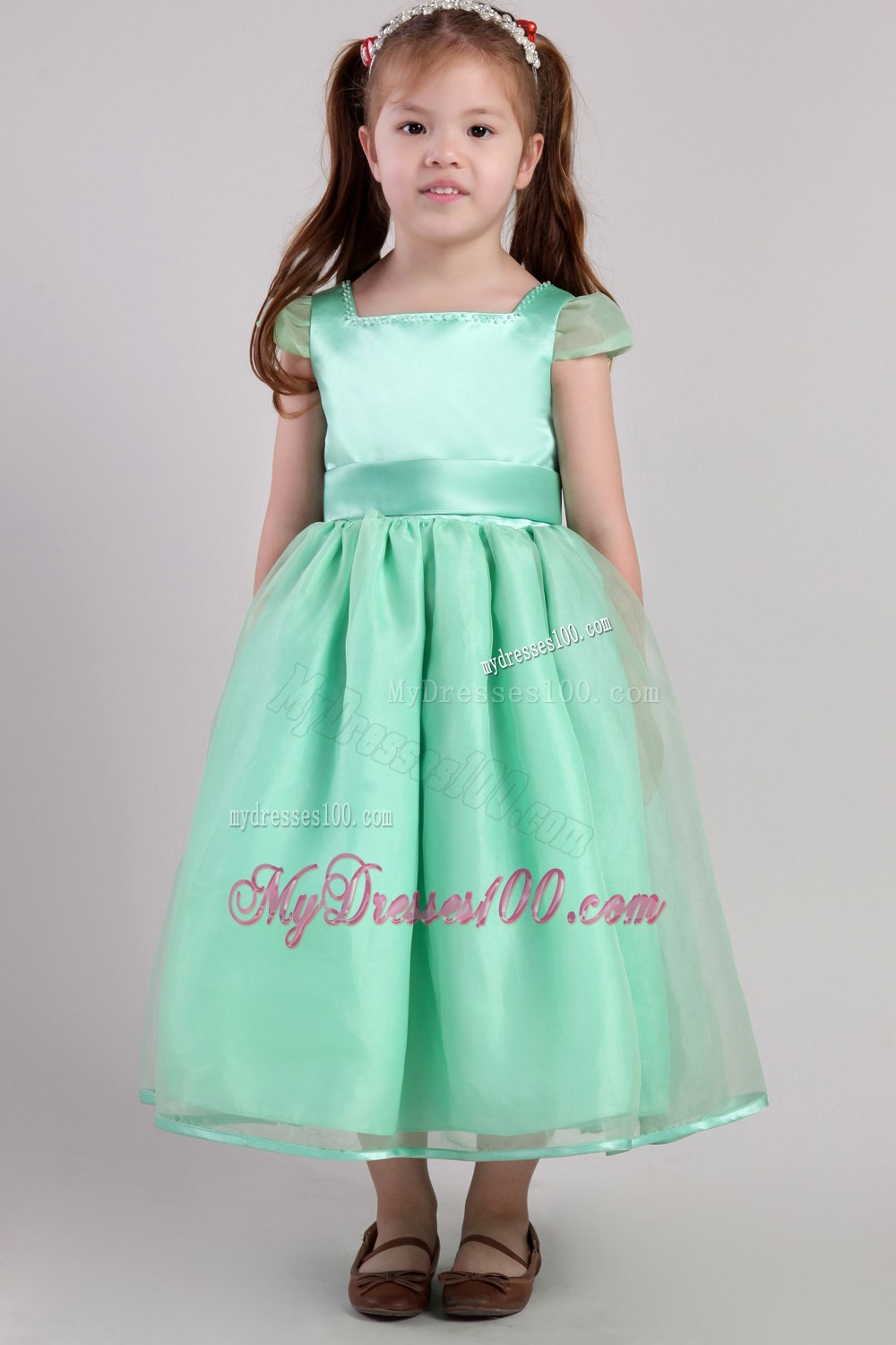 Apple Green A-line Square Tea-length Organza Belt Little Girl Dress