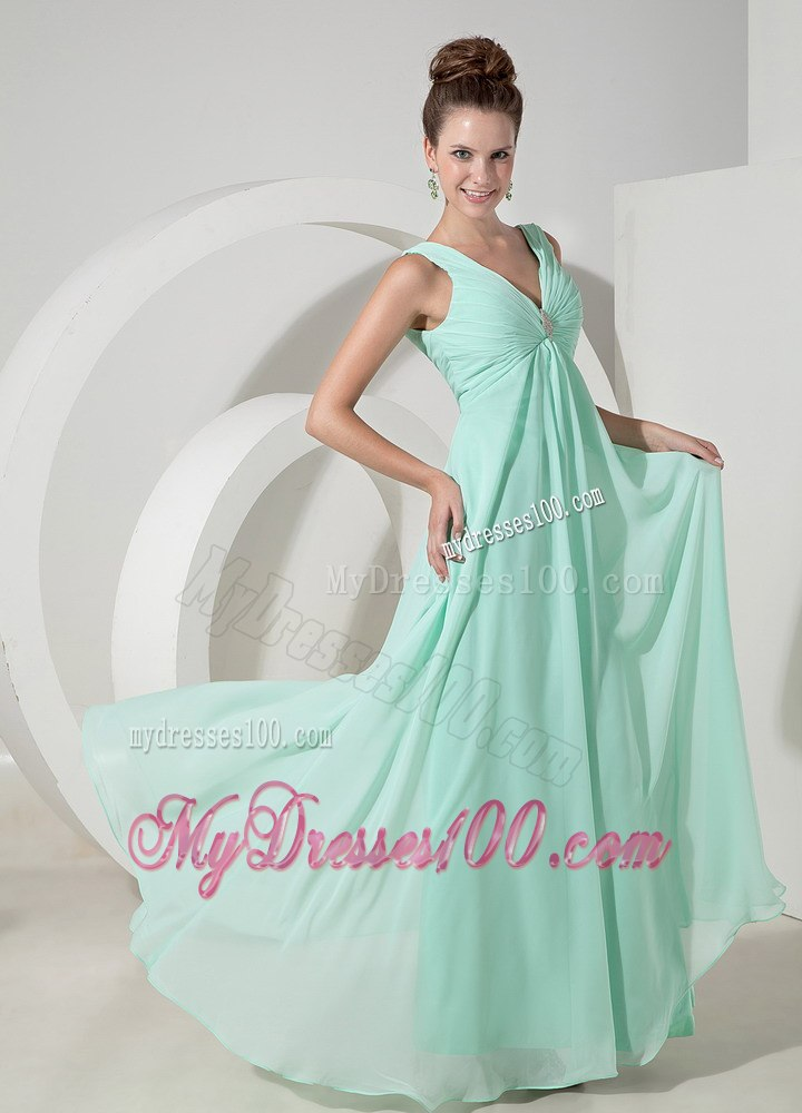 Mint Colored V-neck A-line Dresses For Bridesmaid with Broach