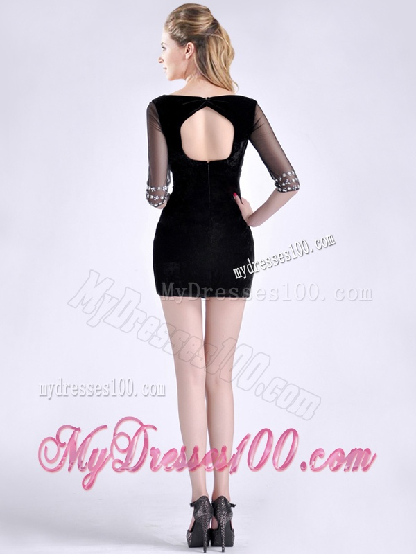Beautiful Beaded Open Back Black Mother of The Bride Dress with Half Sleeves