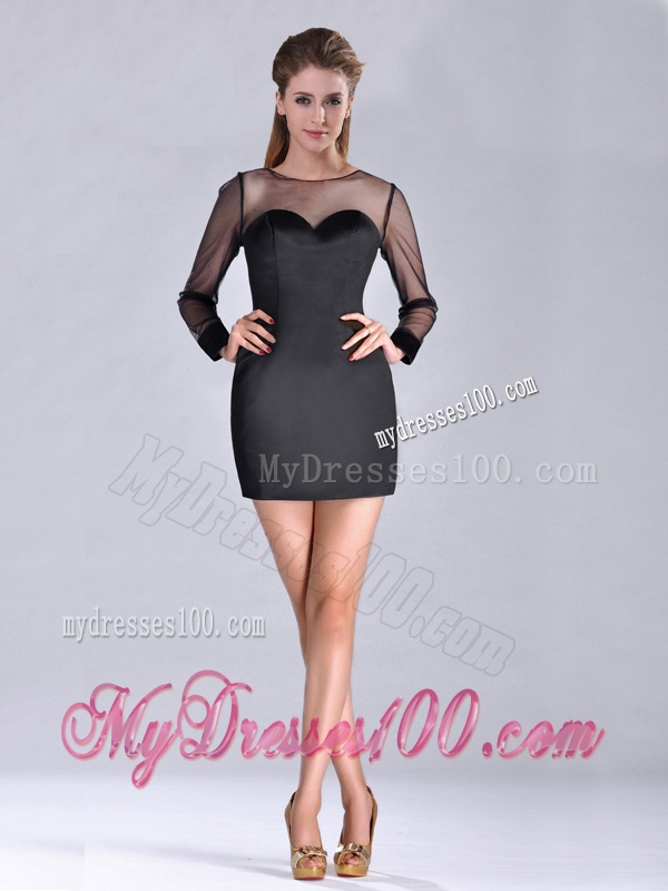 Cheap See Through Column Bateau Black Mother of The Bride Dress with Long Sleeves