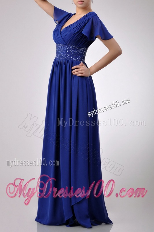 Low Price V Neck Beaded Blue Long Mother of The Bride Dress with Short Sleeves