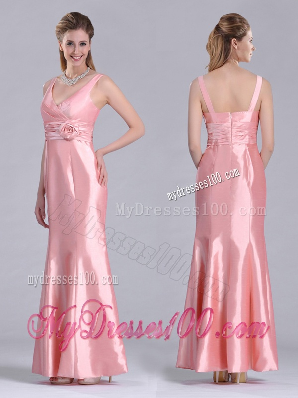 Modest V Neck Hand Crafted Flower Peach Mother of The Bride Dress in Ankle Length
